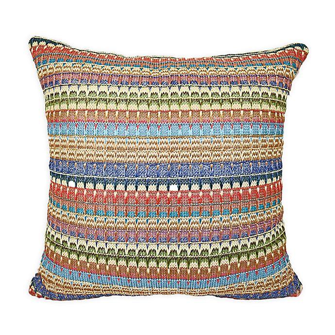 Alternate image 1 for Destination Summer Striped Square Indoor/Outdoor Throw Pillow