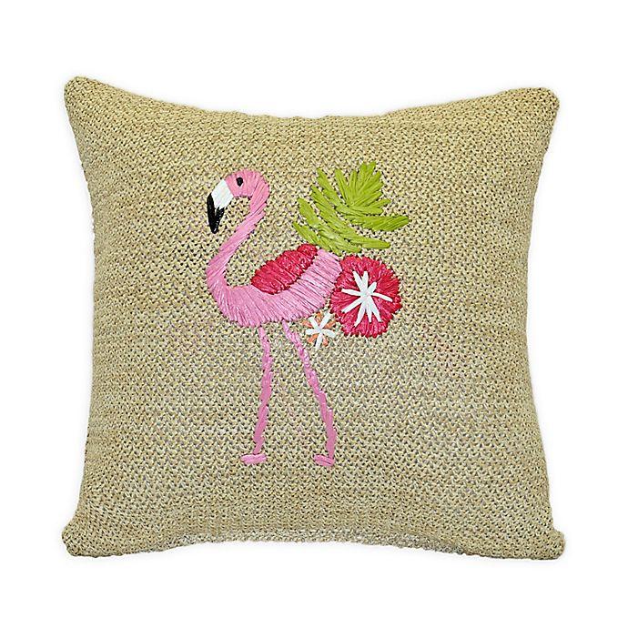 Alternate image 1 for Destination Summer Flamingo Square Indoor/Outdoor Throw Pillow