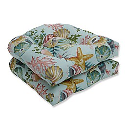 Pillow Perfect Tufted Wicker Seat Cushions (Set of 2)