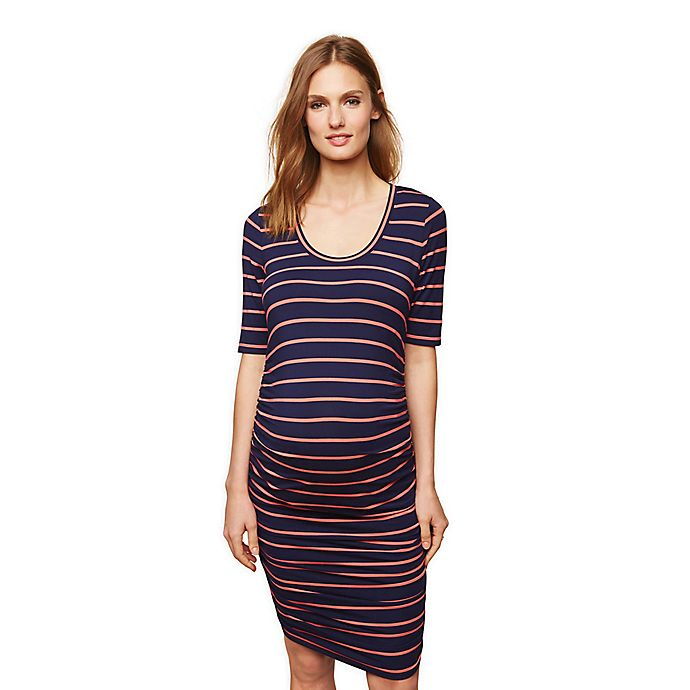 Alternate image 1 for Motherhood Maternity® Side-Ruched Maternity Dress