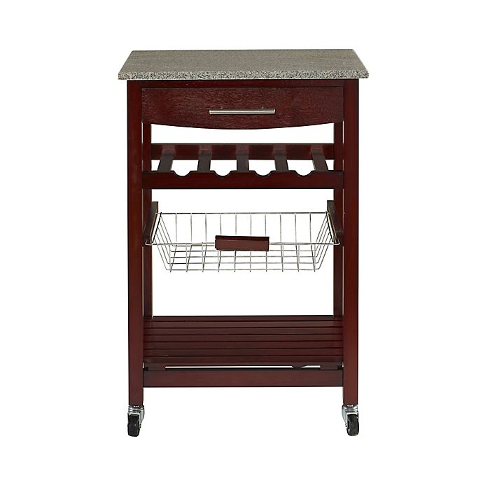 Granite Rolling Kitchen Cart In Cherry Bed Bath Beyond