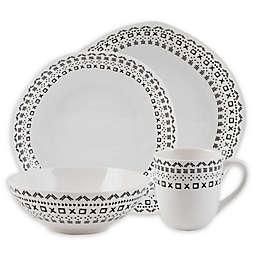 Fitz and Floyd® Organic Maric 16-Piece Dinnerware Set in White/Black