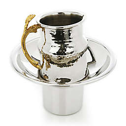 Classic Touch Tervy Leaf Collection Wash Cup in Silver/Gold (2-Piece Set)