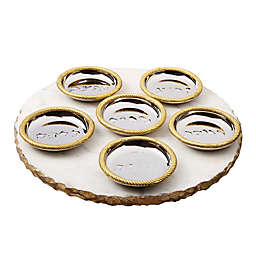 Classic Round Marble Seder Tray with 6 Bowls