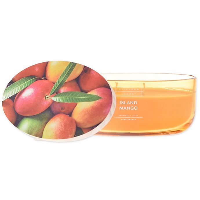 Alternate image 1 for Heirloom Home™ Island Mango 18 oz. Dish Candle with Wood Lid