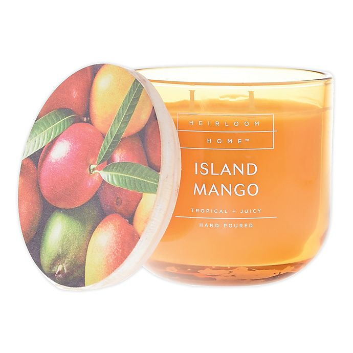 Alternate image 1 for Heirloom Home™ Island Mango 14 oz. Jar Candle with Wood Lid