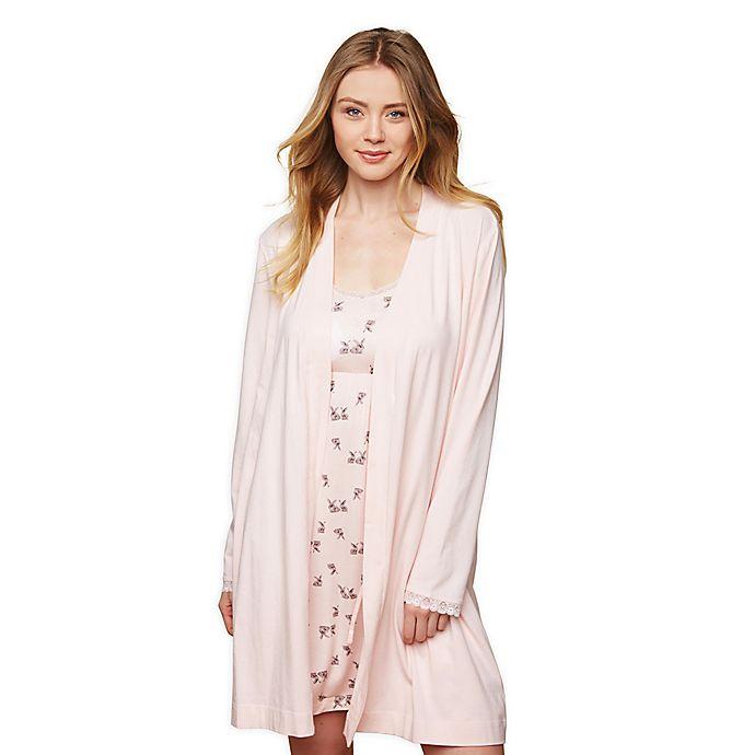 Alternate image 1 for Motherhood® Maternity Lace Trim Nursing Robe in Pink