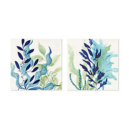 Artissimo Designs Blue Coral I Printed Canvas Wall Art (Set of 2)