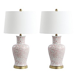 Safavieh Calli LED Table Lamps in Pink/White with Fabric Shades (Set of 2)