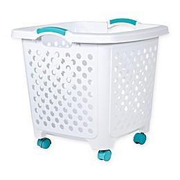 Home Logic 1.75-Bu. Rolling Hamper in White/Teal