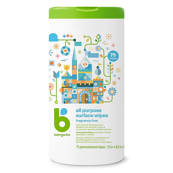 Alternate image 1 for Babyganics® 75-Count Fragrance-Free All-Purpose Wipes