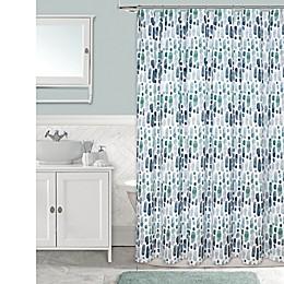 Rocky Rain Shower Curtain in Aqua