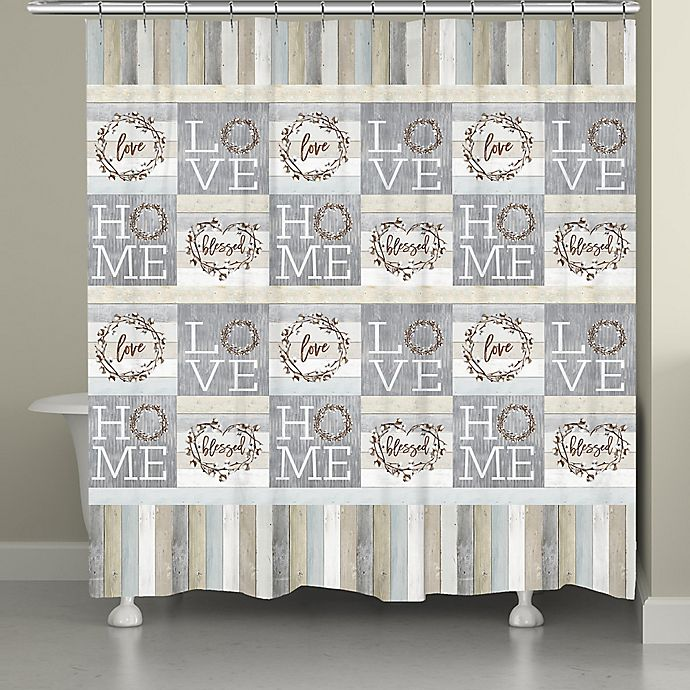 Alternate image 1 for Loving Home Shower Curtain in Grey/White