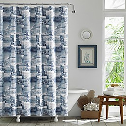 Wish You Were Here Chambray Blue Shower Curtain