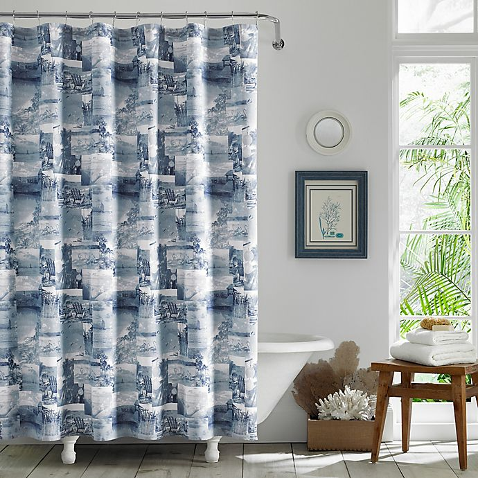 Alternate image 1 for Wish You Were Here Chambray Blue Shower Curtain