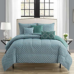 Alanis 6-Piece King Comforter Set in Teal