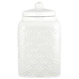 American Atelier Embossed Cookie Jar in White