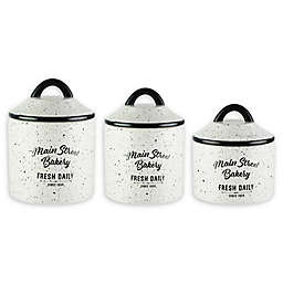 American Atelier Main Street Bakery 3-Piece Canister Set in White