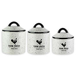 American Atelier Farm Fresh 3-Piece Canister Set in White