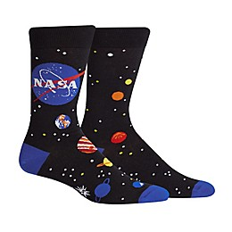 NASA Solar System Cotton Blend Crew Socks in Black/Blue