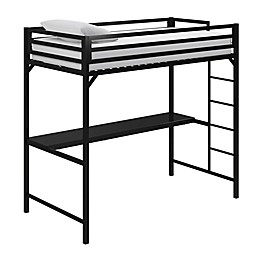EveryRoom Mason Loft Bed with Desk in Black