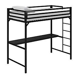 EveryRoom Mason Twin Loft Bed with Desk in Black