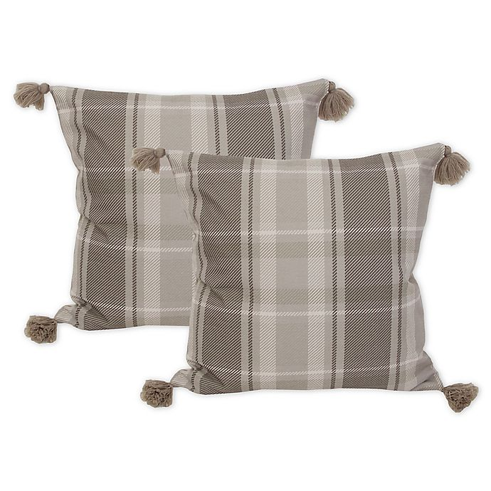 Brent 20 Inch Square Throw Pillows In Grey Set Of 2 Bed