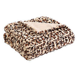 Morgan Home Faux Rabbit Fur Reversible Throw Blanket in Brown