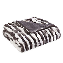 Morgan Home Faux Rabbit Fur Reversible Throw Blanket in Grey/White