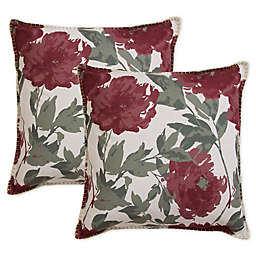 Floral Whipstitch Square Throw Pillows in Cabernet (Set of 2)