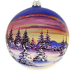 Badash Hand-Painted Sunset 4-Inch Christmas Glass Ornament