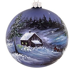 Badash Hand-Painted Snowy Cabin 4-Inch Christmas Glass Ornament