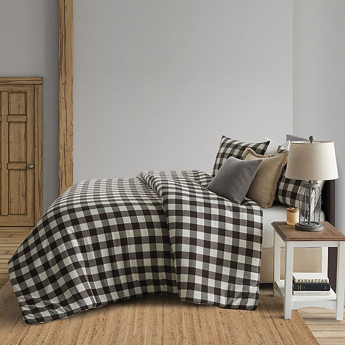 Alternate image 1 for Bee & Willow™ Home Buffalo Check Flannel Duvet Cover Set in Black