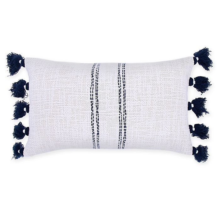 Alternate image 1 for Bee & Willow™ Home Ticking Stripe Woven Oblong Throw Pillow in Natural/Blue