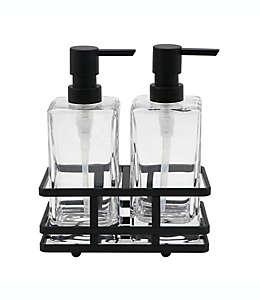 Set de dispensadores de jabón y crema de vidrio Indecor Home Anaheim con base acabado bronce aceitado, 3 piezas