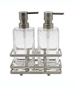 Set de dispensadores de jabón y crema de vidrio Indecor Home Anaheim con base acabado en níquel cepillado, 3 piezas
