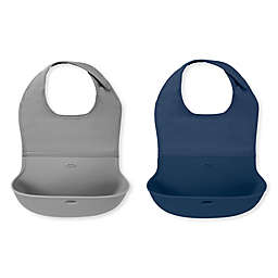 OXO Tot® 2-Piece Roll-Up Bib Set in Navy/Grey