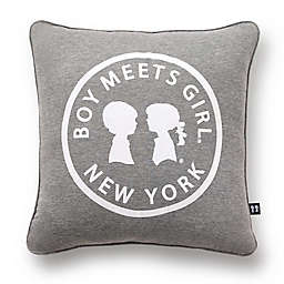 BOY MEETS GIRL® Logo Square Throw Pillow in Grey