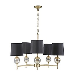 Hampton Hill Ryland 5-Light Chandelier in Black with Fabric Shade