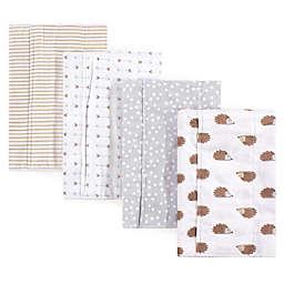 Hudson Baby® 4-Pack Hedgehog Flannel Burp Cloths