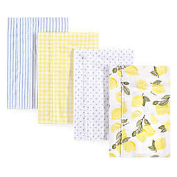 Hudson Baby® 4-Pack Lemons Flannel Burp Cloths