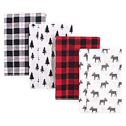 Hudson Baby® 4-Pack Moose Flannel Burp Cloths