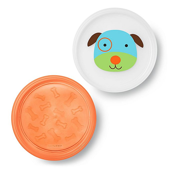 Alternate image 1 for SKIP*HOP® Dog Zoo Smart Non-Slip Plates in Orange (Set of 2)