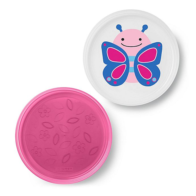 Alternate image 1 for SKIP*HOP® Butterfly Zoo Smart Non-Slip Plates in Pink (Set of 2)