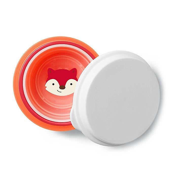 Alternate image 1 for SKIP*HOP® 4-Piece Fox Zoo Smart Serve Non-Slip Bowls in Red/Orange