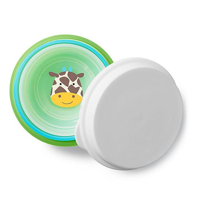 Alternate image 1 for SKIP*HOP® 4-Piece Giraffe Zoo Smart Serve Non-Slip Bowls in Green/Blue