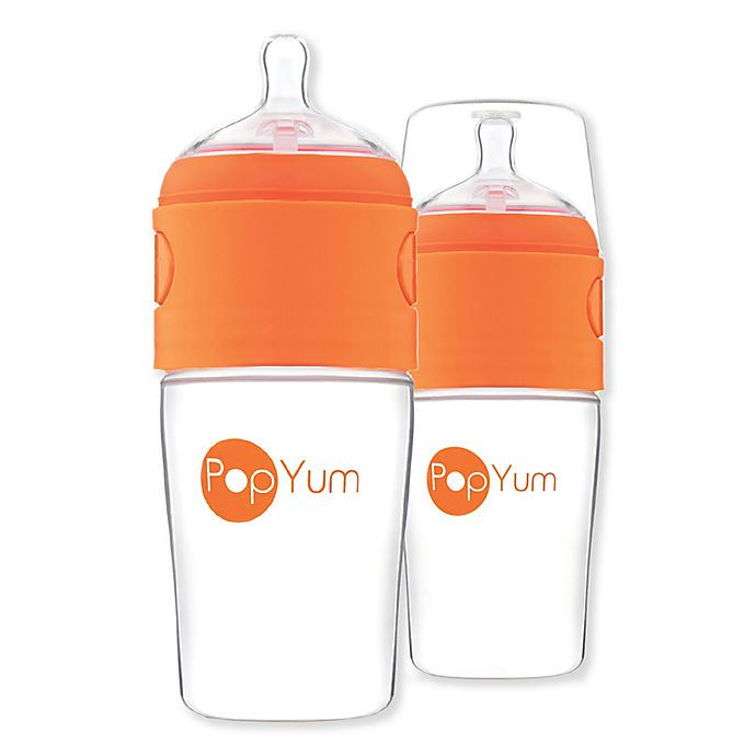 Alternate image 1 for PopYum 2-Pack Anti-Colic Wide Neck Slow Flow Formula Making Bottles in Orange