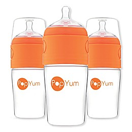 PopYum 3-Pack Anti-Colic Wide Neck Slow Flow Formula Making Bottles in Orange