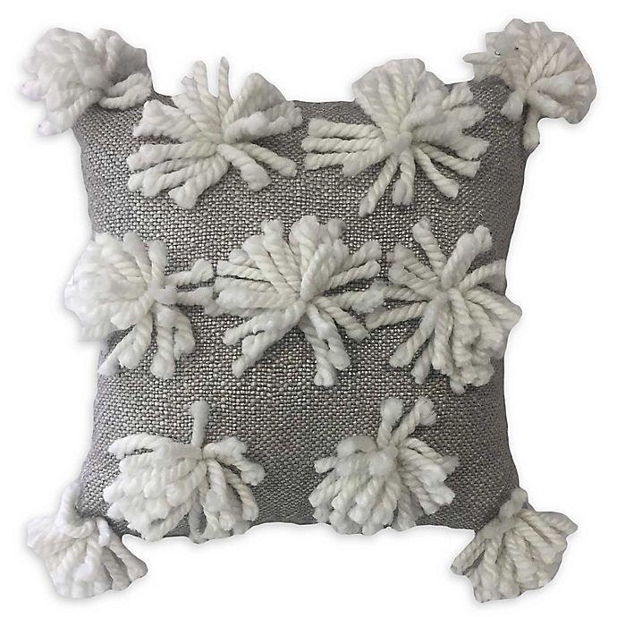 Alternate image 1 for Global Caravan™ All Over Tassel Square Throw Pillow in White/Grey