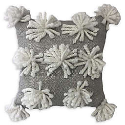 Global Caravan™ All Over Tassel Square Throw Pillow in White/Grey